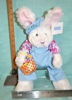 """EASTER Plush BUNNY Overalls Basket Baby Gift Shower PINK Collect Toy 16"""" Blue"""