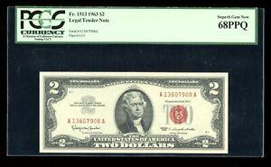 DBR 1963 $2 Legal Superb Gem Fr. 1513 PCGS 68 PPQ Serial A13607908A