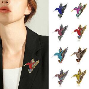 Rhinestone Hummingbird Brooch Animal Corsage Women Colorful Suit Clothing Badge