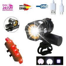 Luz delantera y Trasera de bicicleta impermeable XM-L T6 LED 3 modos USB Zoom