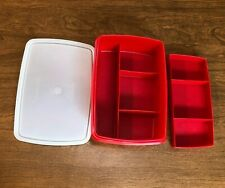 TUPPERWARE Stow N Go TUPPERCRAFT #767 1-767 - Craft Pencil Box - Red - Vintage