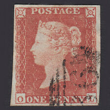 B18 GB QV 1841 1d RED-BROWN PLATE 162 (SG8) 'OL' FU 4 MARGINS