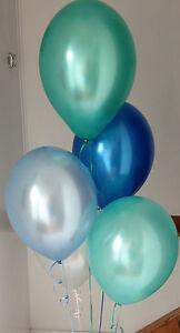 90 Under The Sea Range Pearlised Latex Balloons with Curling Ribbon &Ballon Pump