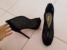 tronchetti sandali Primadonna 37 nero pizzo tacco alto plateau guess decollete