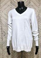 NWT Worthington White V Neck Cotton Blend Knit Polar Bear Pullover Sweater M