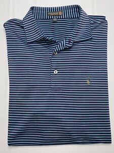 Peter Millar STREAMSONG Golf Club Purple Large Short Sleeve Golf Polo Shirt