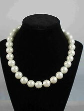 "Ralph Lauren Silvertone 15mm Glass Pearl 18""  Oversized Clasp Necklace $78"