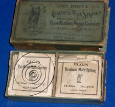 Box w/9 various springs circa 1890s-1920s Elgin Watch Co Resilient Main Springs