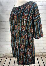 LuLaRoe IRMA Hi-Lo Tunic Tee Top Southwest Print Black Aztec Size M 12-14+