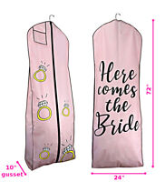 Purple QEES 72 Women/'s Dress and Gown Garment Bag Evening Gowns with 2 Mesh Pockets JJZ930 Bridal Wedding Gown Dress Bag 15 Gusseted Travel Garment Bag for Prom