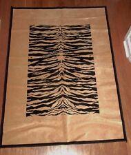 "Masai Black & Gold Tiger Print 100% Viscose Area Rug 3'3"" x 4'7"" RN97627 EC!"