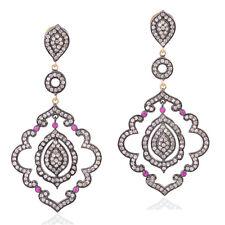 Ruby Diamond 14k Gold Sterling Silver Dangle Earrings Wedding Fashion Jewelry
