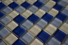 Glasmosaik Matte Blau Weiss Mix Glänzend 8 mm 30 x 30 cm Fliesen Bad M222, NEU