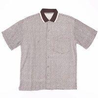 Vintage 70's Style  Brown Crazy Print Pattern Short Sleeve Shirt Size Mens Large