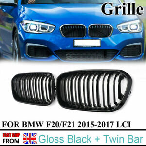 Gloss Black Front Kidney Grille Grill For BMW F20 F21 1 Series 15-19 Facelift
