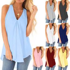 Women Summer V-Neck Sleeveless Solid Chiffon Shirt Casual Loose Hem Plus Tops