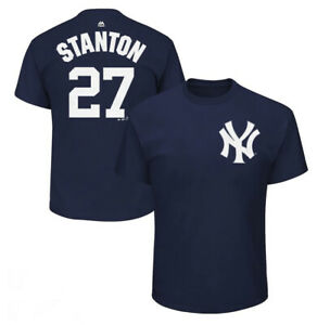 New York Yankees Giancarlo Stanton Mens Majestic Jersey Number T-shirt Navy M