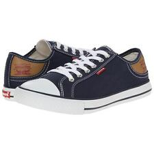 Levi's Men's US 9 Navy/White Stan Buck Canvas Upper Low-Top Fashion Sneakers - Blue