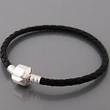 "6.5"" Genuine Leather Black Bracelet fits European Charms Compatible"