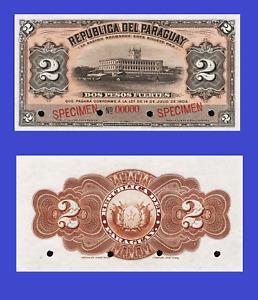 Paraguay 2 pesos 1903 specimen UNC - Reproduction