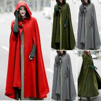 Women Trench Coat Open Front Cardigan Jacket Hoodie Coat Cape Cloak Poncho Plus