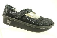 Alegria Black Shimmer Leather Mary Jane Slip On Loafers Women's 36 / 6 - 6.5