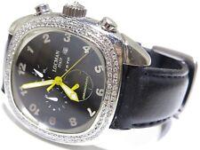 Locman Stainless Steel 2.00ct White Round Cut Black Dial W/ Black Band Watch