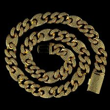 18K Gold Plated Out Iced Lab Diamond Prong Set 14mm Mariner Cuban Link Chain