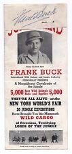 FRANK BUCK SIGNED CUT AUTO & NEW YORK WORLDS FAIR JUNGLELAND PHOTO BROCHURE AD