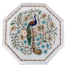 """12"""" Marble Coffee Center Table Top Marquetry Peacock Inlay Art Patio Decor E438A"""