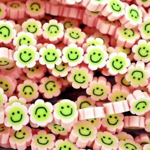 Emoji Smile face, Beads ,Emoji, Clay Polymer Lightweight Pink Flower. 38pc G25