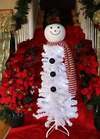 White Flocked Snowman Pre Lit Artificial Christmas Tree  50 Clear Lights New  4'