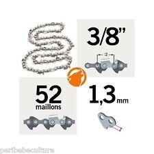 """Chaîne tronçonneuse KERWOOD 52 maillons 3/8"""", 1,3mm, modèle semi carrée"""