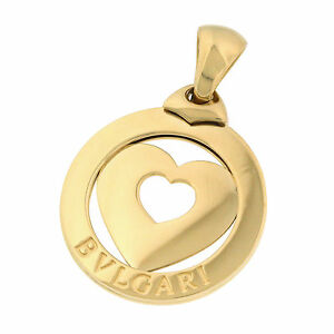 BVLGARI Italy 18K Yellow Gold Tondo Heart Charm Pendant for Bracelet/Necklace