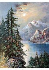 Moonlit Mountain Lake by William Henry Chandler (Art Print of Vintage Art)