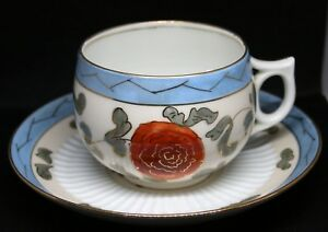 ANTIQUE LEONARD VIENNA MUSTACHE CUP MUG AND SAUCER GILT