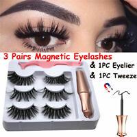 3 Pairs Magnetic Eyelashes With 1 Pc Magnetic Eyeliner & Tweezer Set