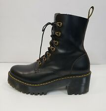 NEW Women's 9 Dr. Martens Leona 7-Eye Hiker Boot Black Vintage Smooth Leather