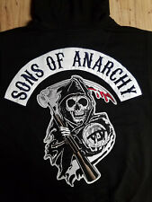 Sons Of Anarchy Official Embroidered Biker Zip Up Hoodie & FREE patch set