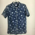 Cat & Jack Chambray Star Button Up Patriotic 4th of July Top Boys Size 16