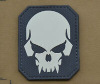 "PVC / Rubber Patch ""3D Rounded Skull"" with VELCRO® brand hook"