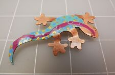 Artisan Hand Crafted Copper Gecko Lizard Hand Painted Brooch Pin
