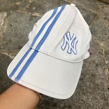 90s New York Yankees Baseball Cap - biege + blue Stripes / y2k 00s vintage hat