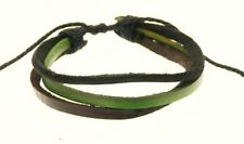 Leather Triple Strap & Cord Surf Bracelet Wristband BROWN BLACK GREEN - F