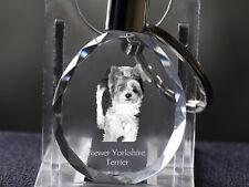Biewer Yorkshire Terrier,Dog Crystal Round Keyring, Quality, Crystal Animals Usa
