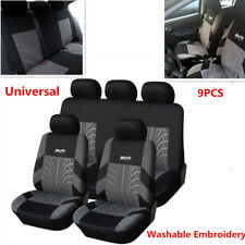 9PCS Classic Washable Embroidery Auto Car Seat Cover Cushion Full Set Front+Rear
