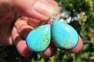 Turquoise Earrings Crystal Authentic Natural silver 925 USA Arizona America 5.3g