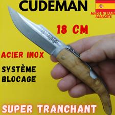 CUDEMAN COUTEAU ESPAGNOL TRADITIONNEL A PALANQUILLE  18 CM LAME TRANCHANTE INOX
