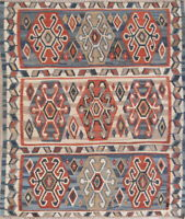 Vintage Geometric Kilim Oriental Area Rug Wool Hand-Woven All-Over Carpet 5x6