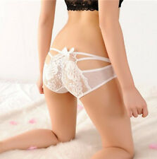 Womens Sexy Lace G-string Panties Thongs Tangas Briefs V-string Underwear White